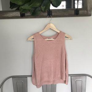Sans Souci Knit High Low Sweater Vest Blush Pink M